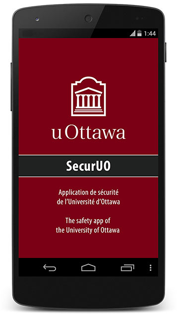 Télécharger l'application de sécurité de l'Université d'Ottawa - SecurUO. Disponible sur iOS et Android.
