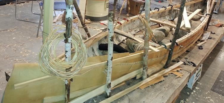The construction of birch bark canoe is in progress