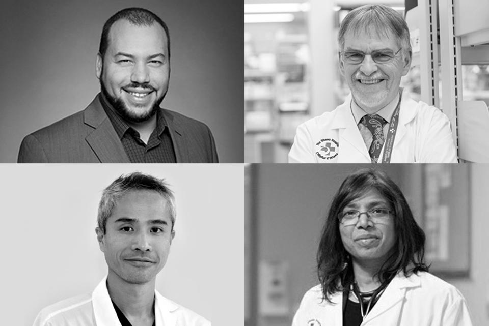 Le Drs Jean-Simon Diallo, Duncan Stewart, Derek So and Smita Pakhale, récipiendaires de fonds fonds du Fonds ontarien de rechercher pour l'intervention rapide contre la COVID-19.