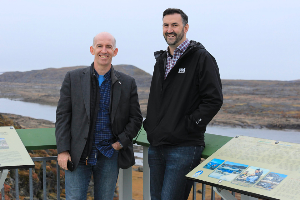 Dr. Colin McCartney and Dr. Jason McVicar taking in Nunavut scenery.