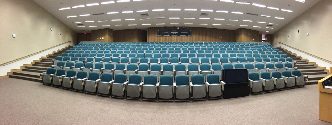 Photo of an empty auditorium
