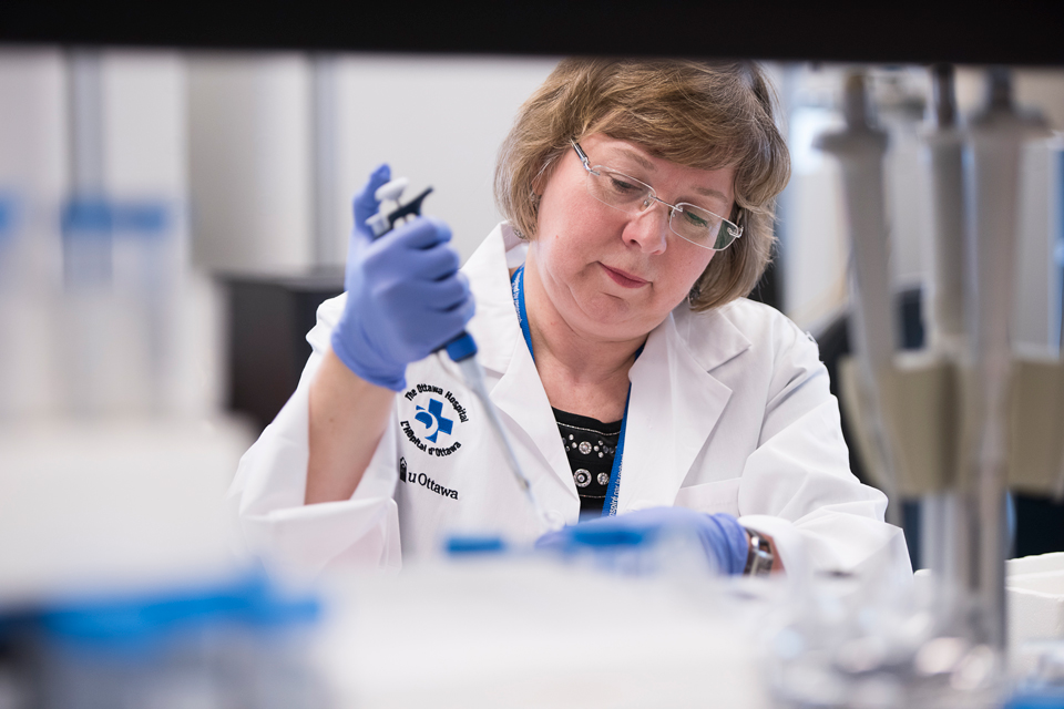 Dr. Barbara Vanderhyden in her laboratory.