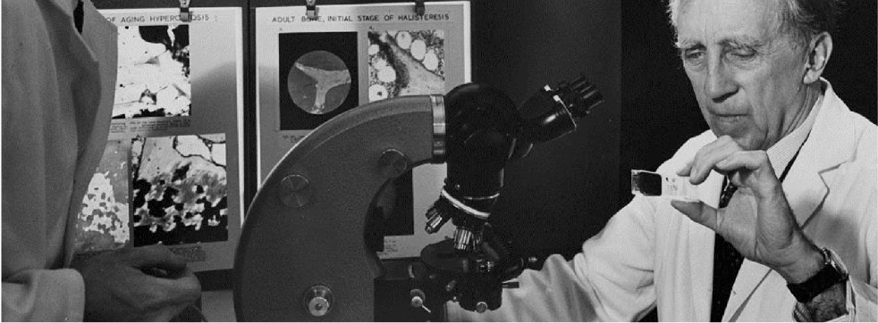 Dr. Fedor Bohatirchuk studies a slide of ageing bones while sitting in front of a microscope