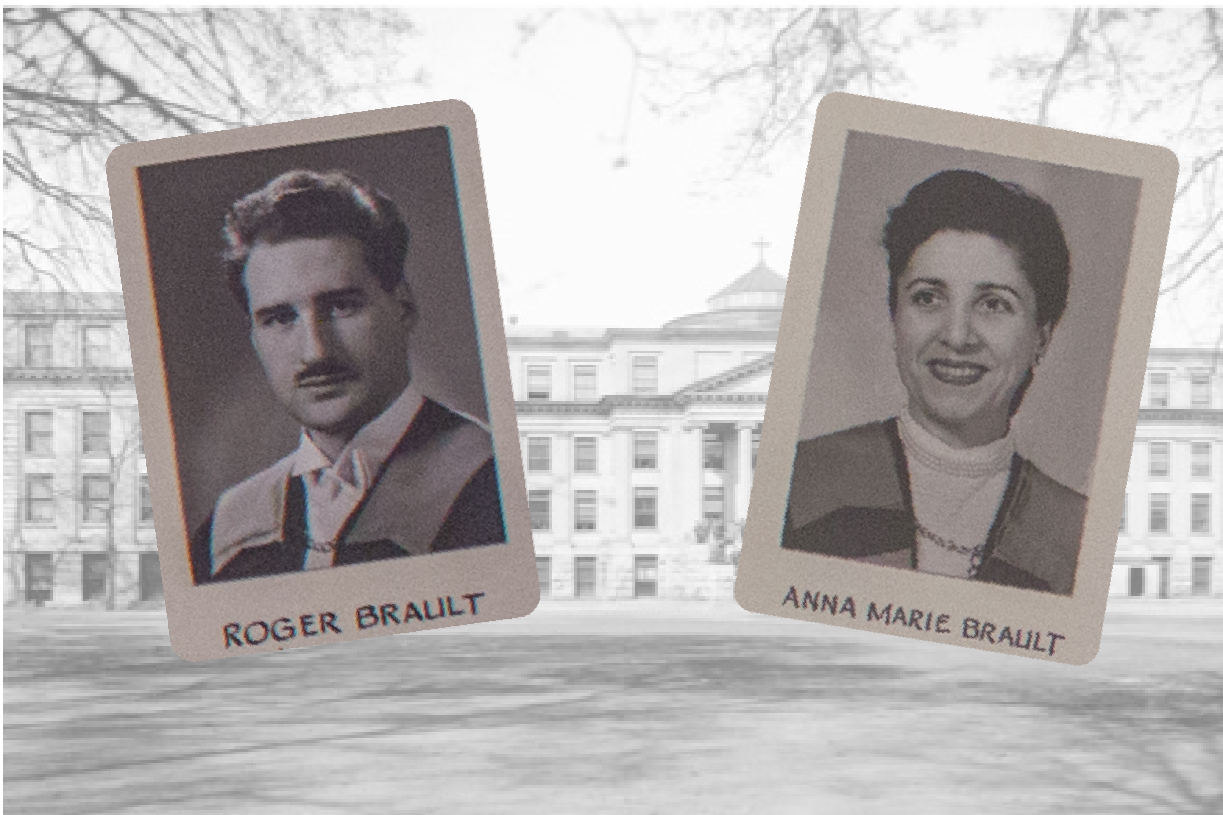 headshot of roger and anna maria brault in front of an image of the university of ottawa