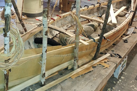 Example of a finished birch bark canoe