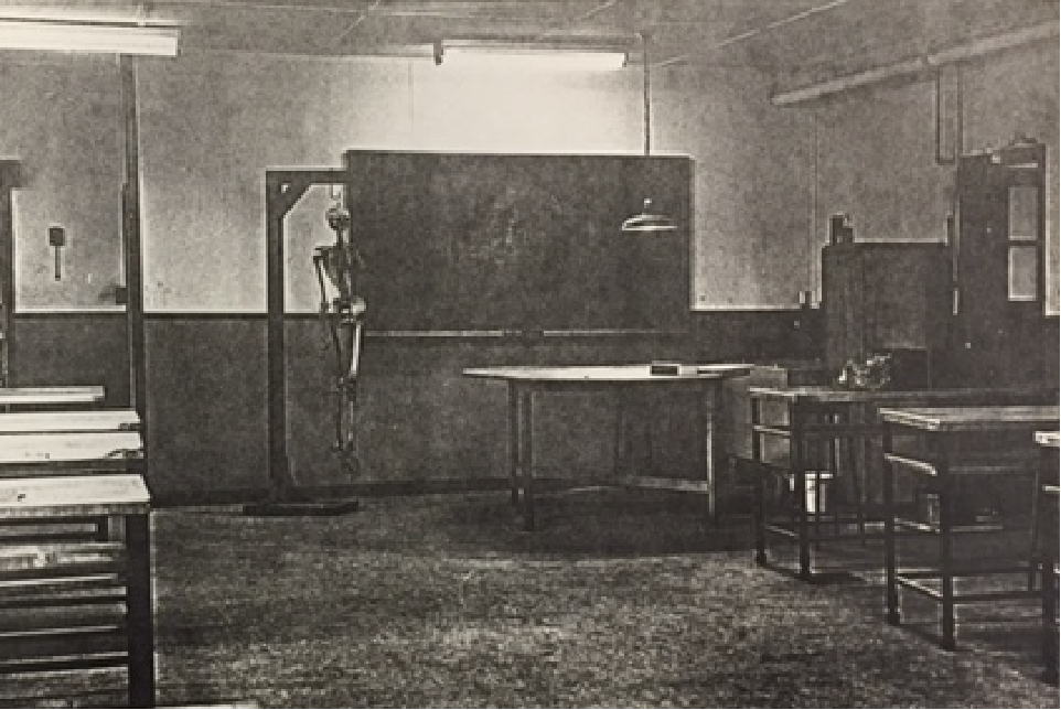 Two rows of tables stand in a large room. At the front of the room, a human skeleton hangs on a frame in front of a blackboard.