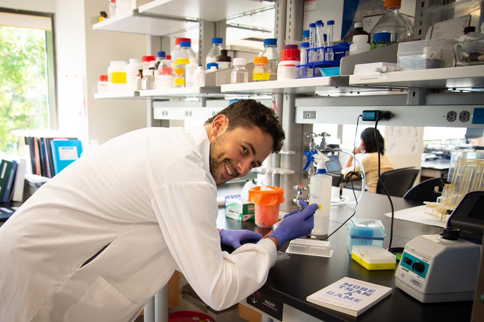 Nathan Chiarlitti in a laboratory