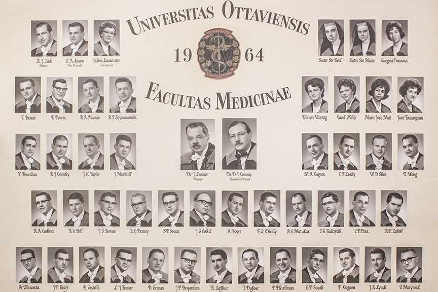 Composite photo of the Faculty of Medicine's Class of 1964.
