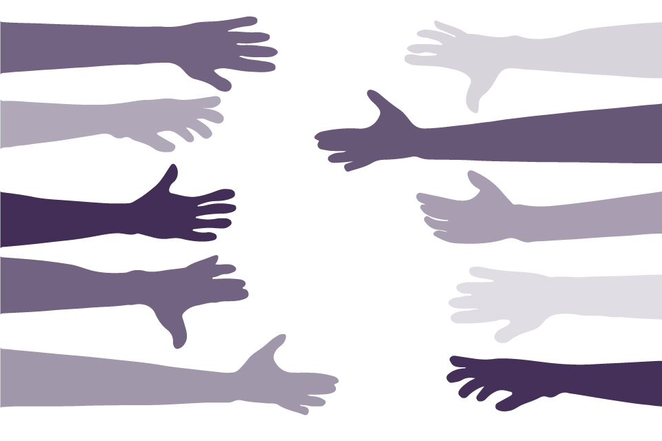 Hands reaching out to show support for each other
