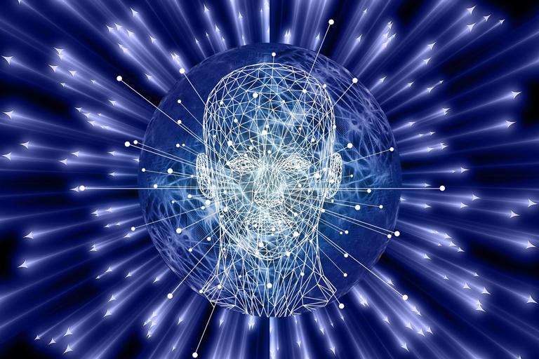 Graphique de la tête humaine entourée de faisceaux laser