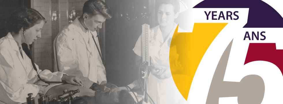 A dreamlike black-and-white vintage image of two young doctors and a young nurse in lab coats, beside a colorful graphic logo of the number 75