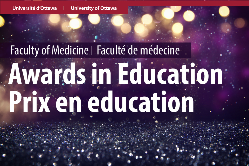 Graphic that says Awards in Education in English and French