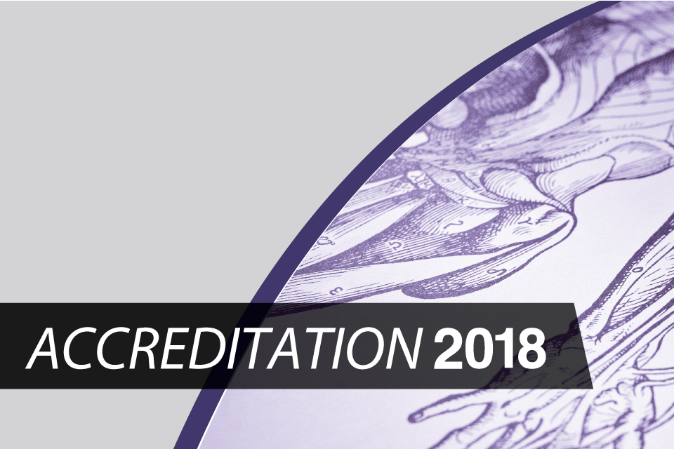 Graphic logo of Accreditation 2018.