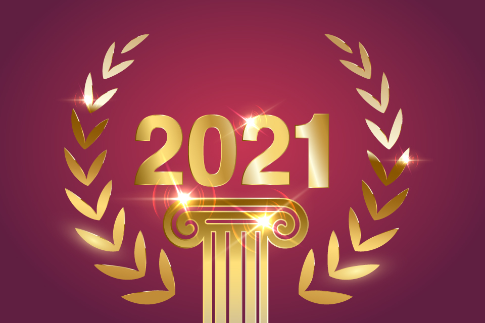 2021 on a red background
