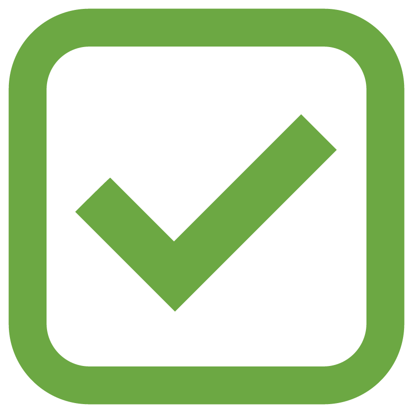 A graphic icon representing a checkmark within a box.