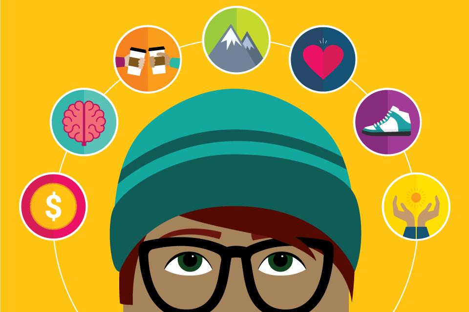 cartoon head with wellness icons