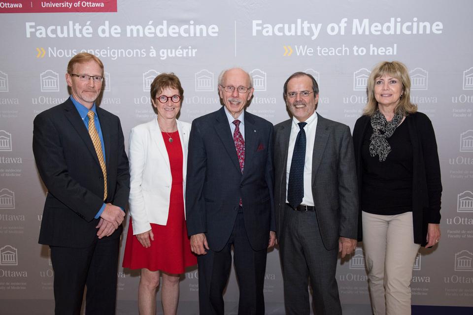 Photo of Dr. Bernard Jasmin, Dr. Janet Rossant, Dr. Antoine Hakim, Dr. Cesar Victora, Dr. Ruth Slack.
