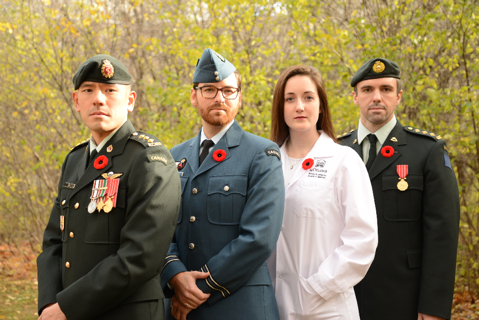 Photo of Captain Victor Pak, Captain Nicolas Ouellet, Second Lieutenant Courtney Guy and Captain Vincent Laframboise.