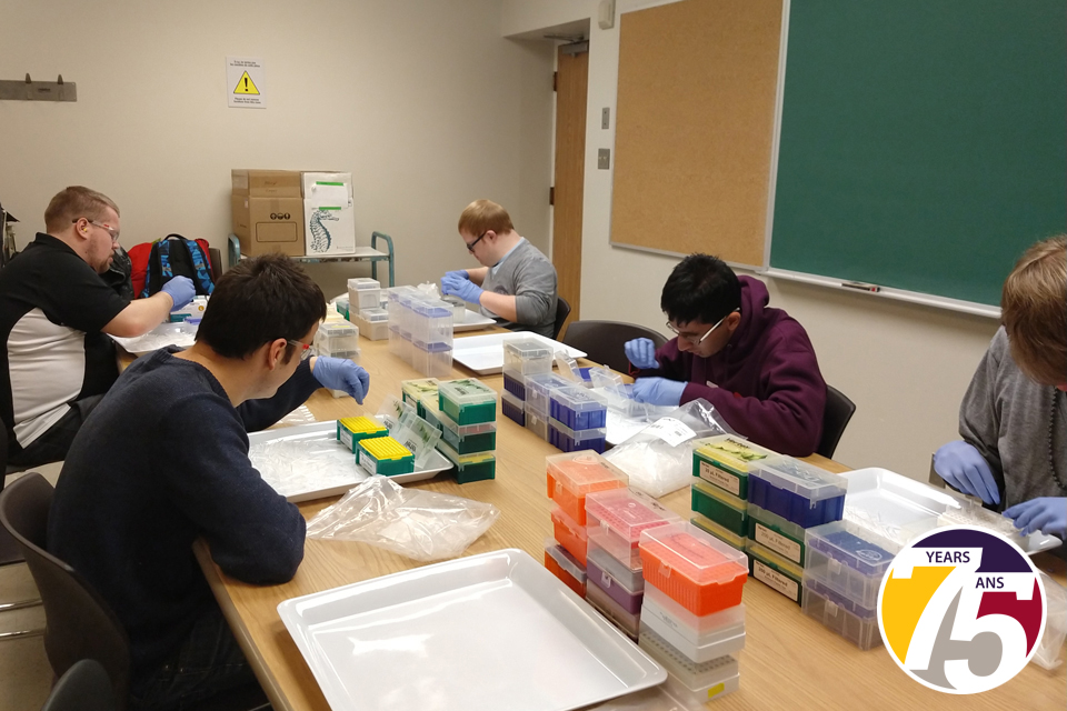 A group of men sitting at a conference room table placing pipette tips into boxes.