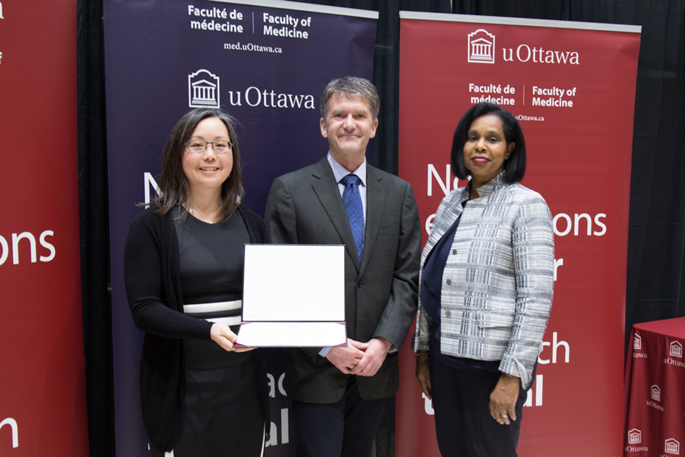 Photo of Dr. Michelle Chiu, Dr. Gregory Bryson and Dr. Sharon Whiting at a Professorial Promotions Ceremony.