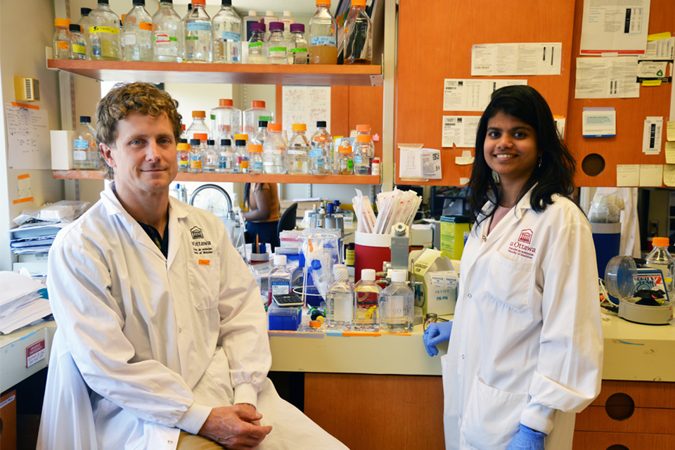 Dr. Derrick Gibbings and PhD student Maneka Chitiprolu.