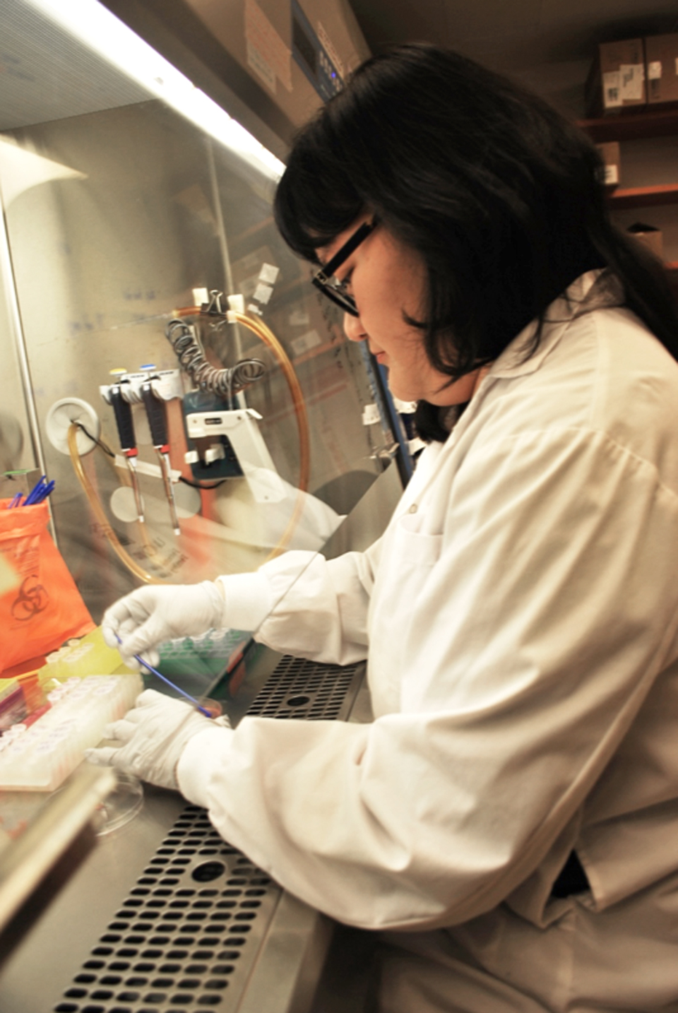 Melissa Phuong preparing for her experiments.