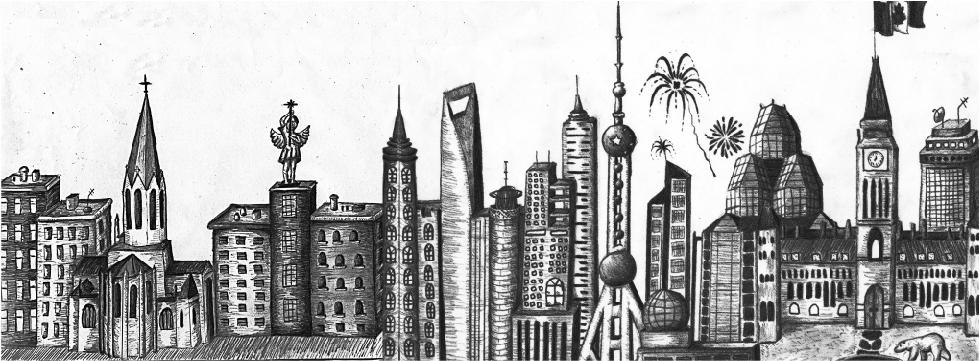 un dessin en noir et blanc d'un horizon urbain