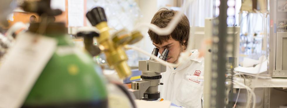 Un chercheur se penche sur un microscope.
