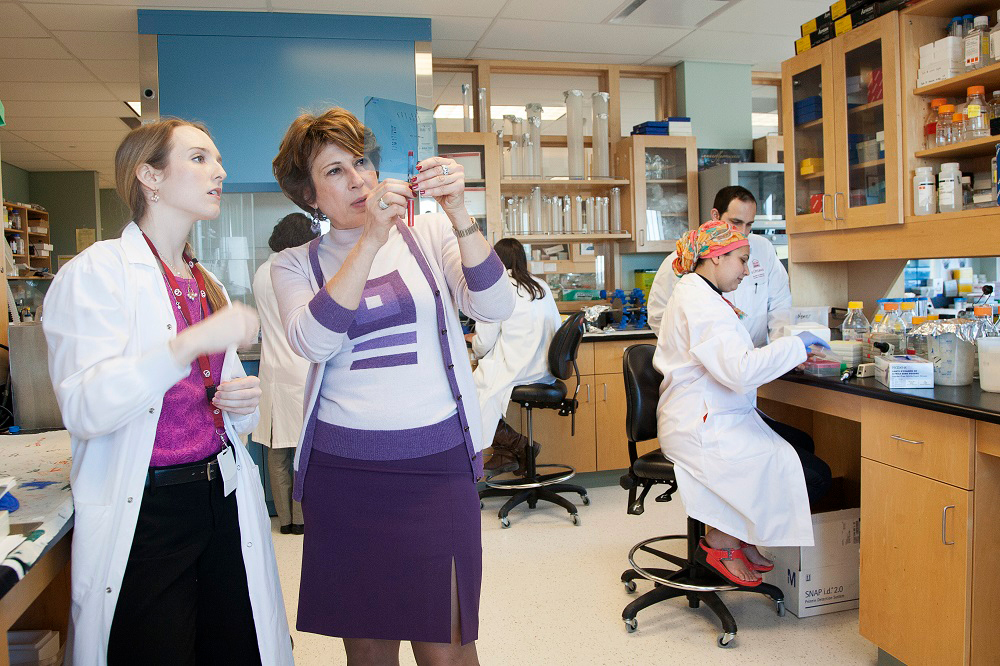Dr. Mona Nemer and students in her laboratory.