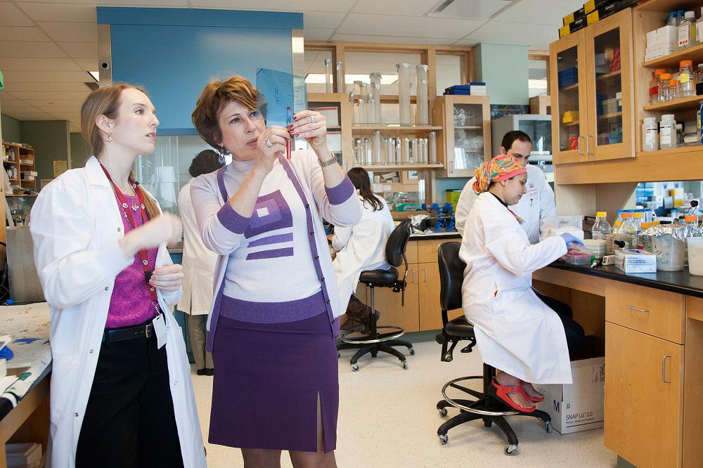 La Dre Mona Nemer et des élèves dans son laboratoire.