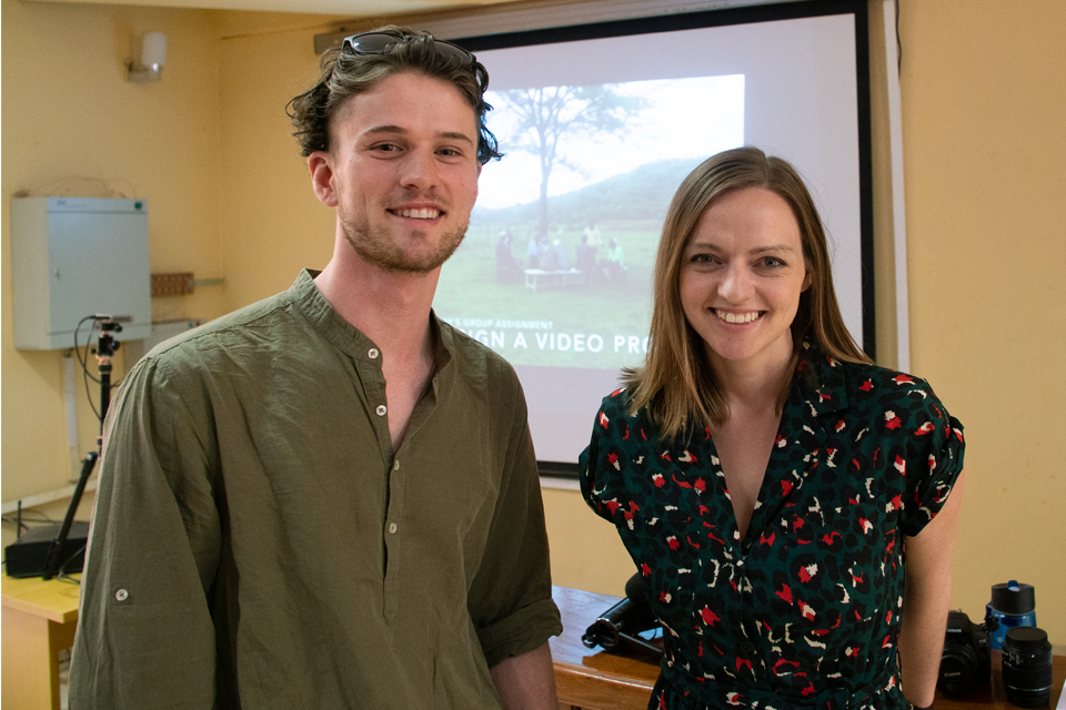 Nicholas Castel and Nicole Bergen teaching videography in Ethiopia.