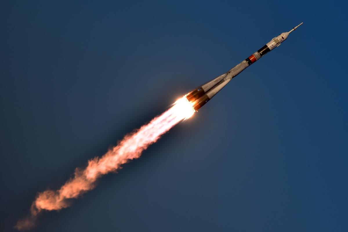 The Soyuz rocket takes off from a cosmodrome in Kazakhstan.
