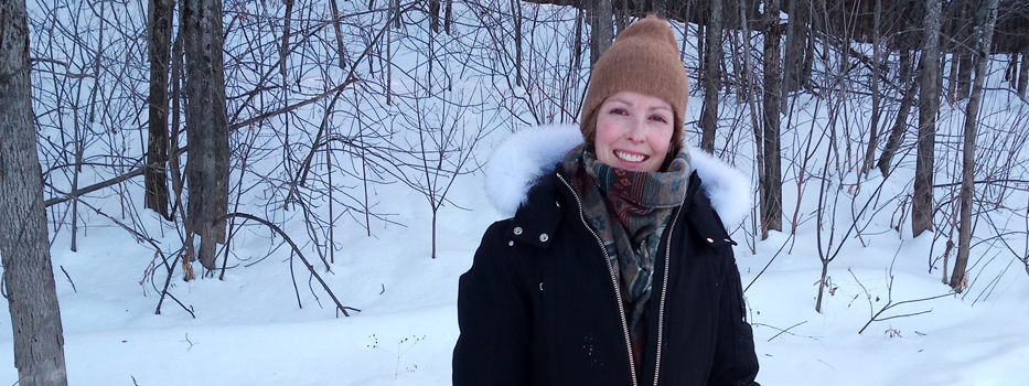 Catherine Moran enjoying a winter day on snowshoes