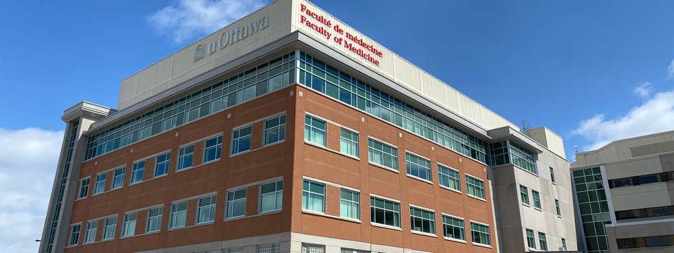 Photo of the exterior of the research tower of the uOttawa Faculty of Medicine