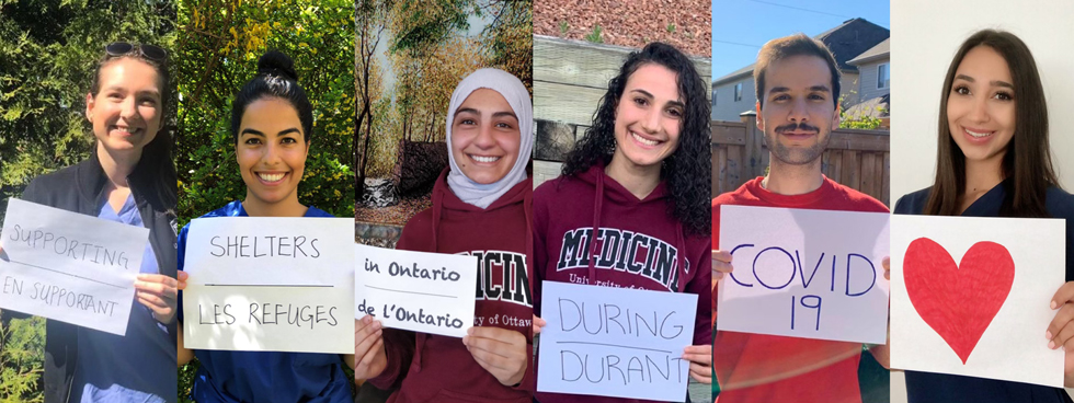 """Six students holding signs saying """"Supporting shelters in Ontario during COVID -19"""""""