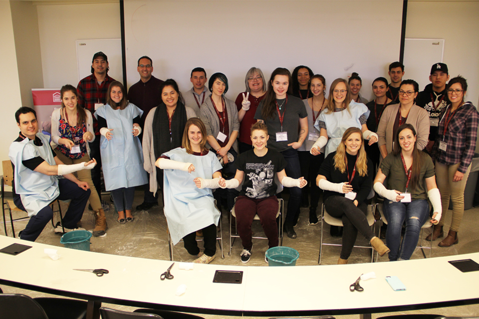 "Photo of participants at uOttawa Faculty of Medicine's ""Come Walk in Our Moccasins"" mini-medical school."