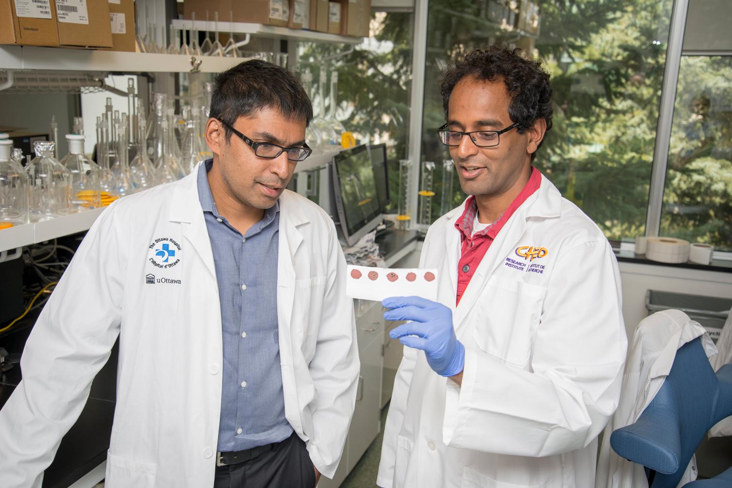 Photo des DrsKumananWilson et PraneshChakraborty examinant un échantillon de sang.
