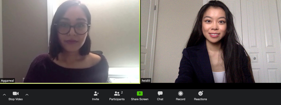 Heidi Li meeting with co-lead Simran Aggarwal over a Zoom call