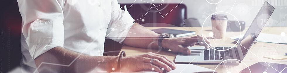 Concept d'écran numérique avec icône virtuelle globale, diagramme, graphique
