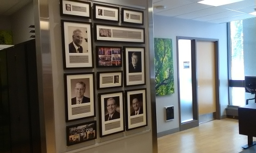 - the hallway leading the Department of Surgery Chair's office, showing pictures of past chairs