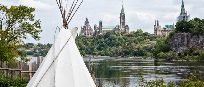 A teepee on Victoria Island, with a view of Parliament Hill, Ottawa.